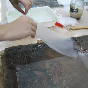 Empapelado de protección en pintura sobre lienzo (cliente ArteCimbra)