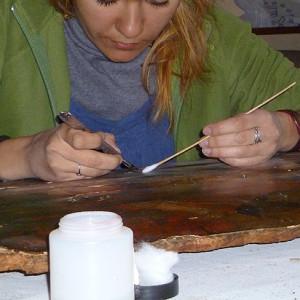 Limpieza de pintura sobre tabla (cliente ArteCimbra)