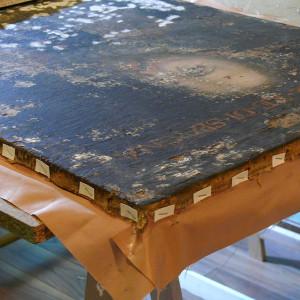 Realización de bandas perimetrales en pintura sobre tela (cliente ArteCimbra)