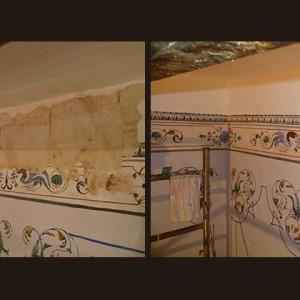 Reconstrucción de zonas perdidas. Pintura mural (cliente ArteCimbra)